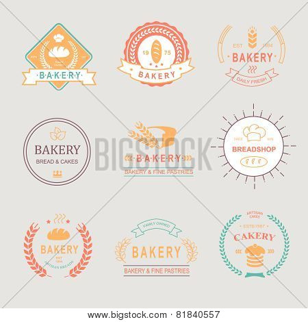 Vintage Retro Bakery Badges,Labels, logos . Bread, loaf, wheat ear, cake icons. Vector