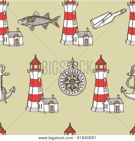 Hand drawn vintage nautical seamless pattern.