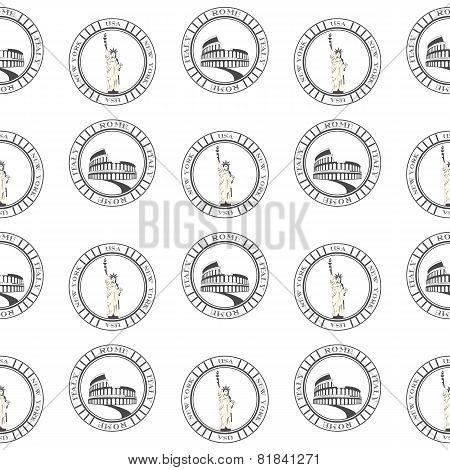 Vector Seamless Pattern Of Travel