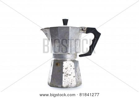 Old Coffee Maker Isolated On White