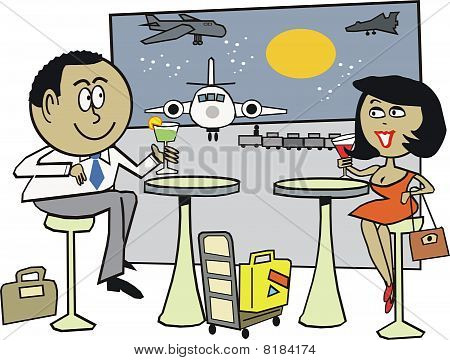 African couple at airport cartoon