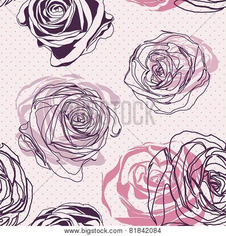 Seamless Roses Pattern. Elegant Floral Pattern