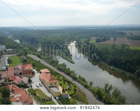 The Melnik town - confluence rivers Vltava and Elbe