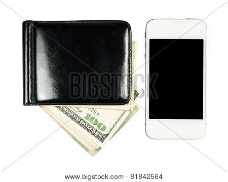 Smartphone Lying Near The Purse With United States Dollars, Isolated On A White