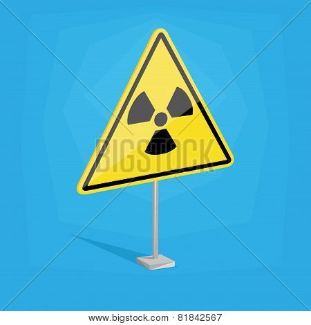 an isolated yellow traffic signal with a nuclear icon