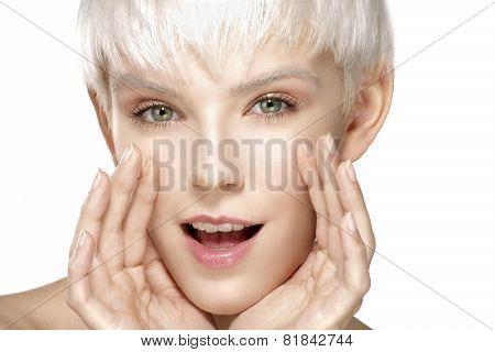 Pretty Blonde Model Screaming In The Camera Closeup