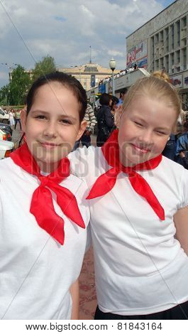 Happy Russian Pioneers On Victory Day May 9.