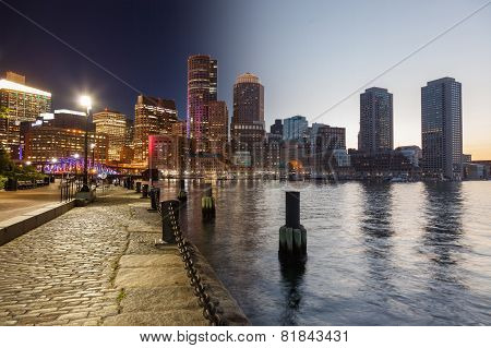 Boston Skyline Day To Night Montage - Massachusetts - Usa - United States Of America