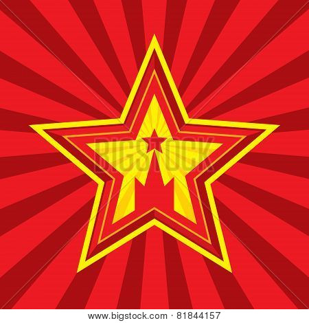 Star with Kremlin symbol - vector concept illustration in Soviet Union agitation style. Russia and U