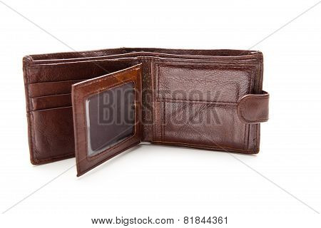 Eather Wallet Open Against White Background