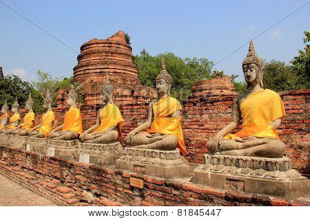 Ancient Buddha At Watyaichaimongkol Temple In Ayudhaya, Thailand