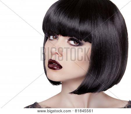 Fashion Brunette Girl. Black Healthy Hair. Bob Hairstyle. Makeup. Female Isolated On White Studio Ba