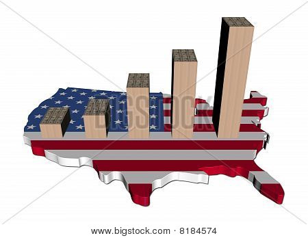 Cash graph On Usa Map Flag