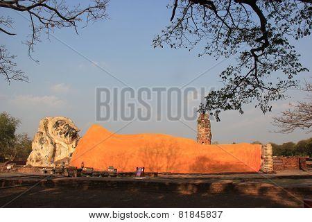 Ancient Reclining Buddha At Wat Lokayasutha Temple