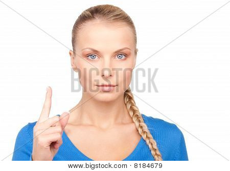 Woman With Her Finger Up