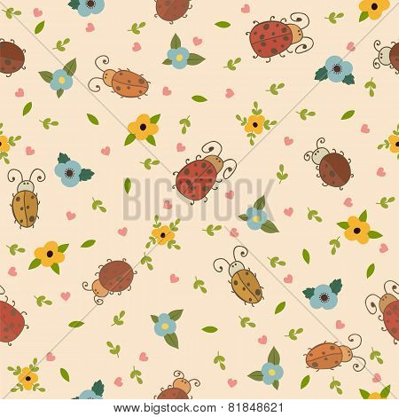 Seamless Pattern With Leaves, Hearts And Ladybirds