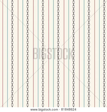 Seamless Pattern With Straight Lines And Anchor Chain