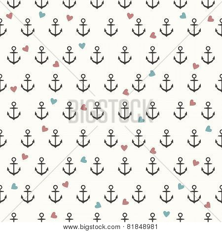 Vector Seamless Pattern With Grey Anchors And Coloured Hearts