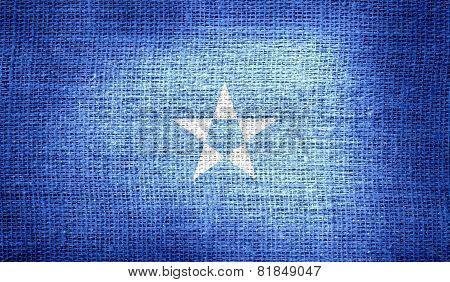 Somalia flag on burlap fabric