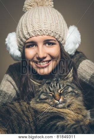 Beautiful Woman With Cat