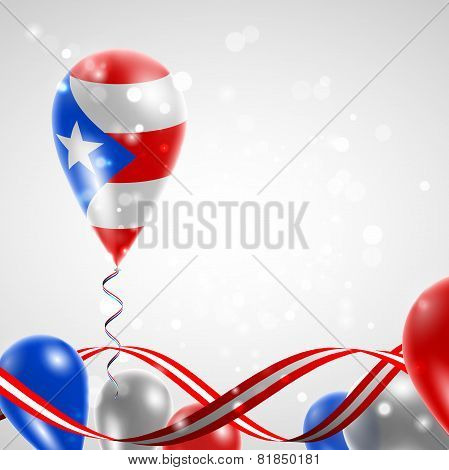 Flag of Puerto Rico on balloon