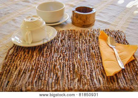 Table prepared for breakfast