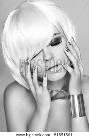 Beauty Fashion Glam Girl Portrait. Blond Woman With White Short Hair. Makeup. Hairstyle.