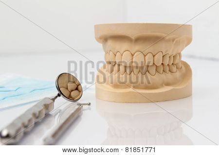 Dental mold with tools and a face mask