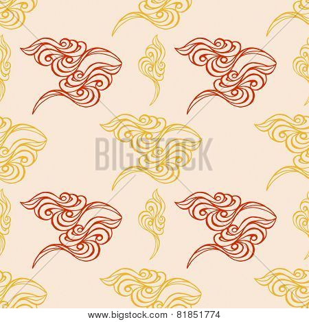 Hand Drawn Wave Tracery Beige Background, Seamless Pattern. Vector Illustration.