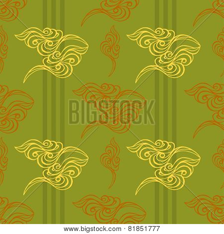 Hand Drawn Wave Tracery Green Background, Seamless Pattern. Vector Illustration.