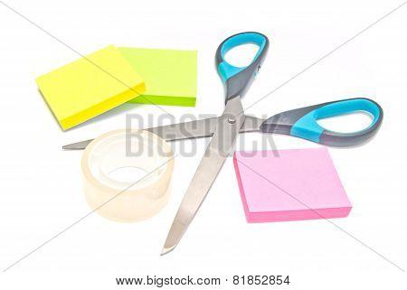 Sticky Notes, Scotch Tape And Scissors