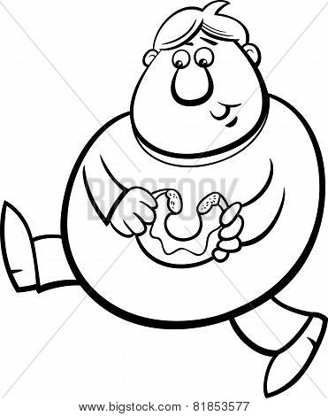 Man With Donut Coloring Page
