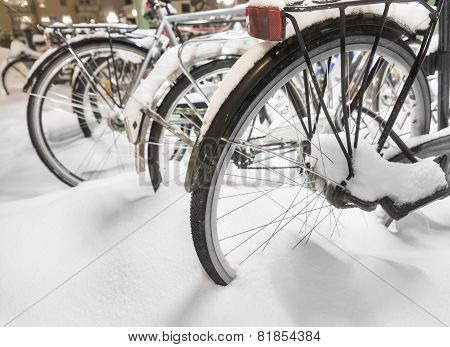 Parked Bikes In Snow