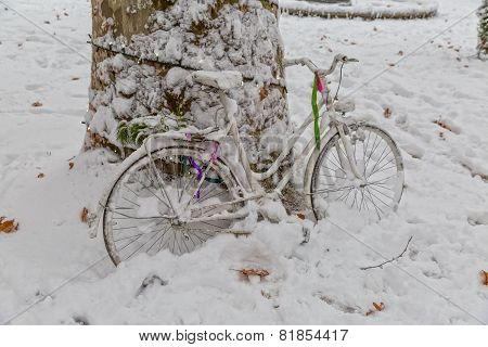 Zagreb bike in the snow