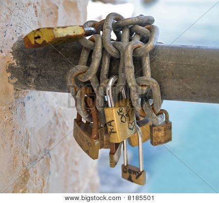 Padlocks symbolizing a vow for everlasting love.