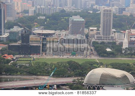 Skyview Of National Gallery Singapore And Esplanade