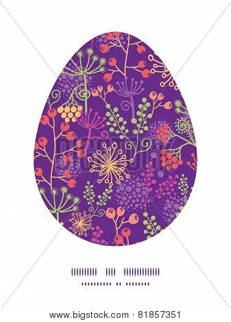 Vector colorful garden plants Easter egg sillhouette frame card template