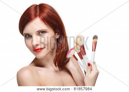 Woman With Brushes For Make-up.