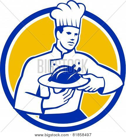Chef Cook Serving Chicken Platter Circle Retro
