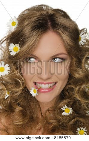 Woman With Daisies In Hair And Teeth, Looking Away