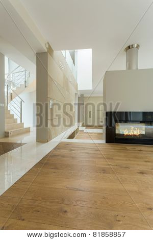 Beige Interior Of Modern House