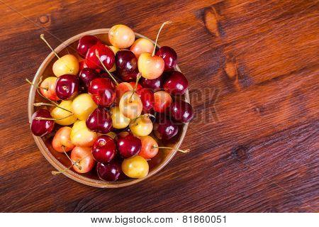 fresh cherry in dish