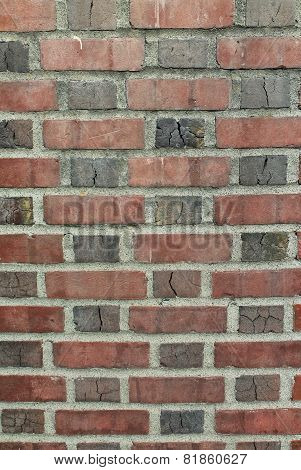 Weathered Red Brick Wall With Mortar Background Vertical