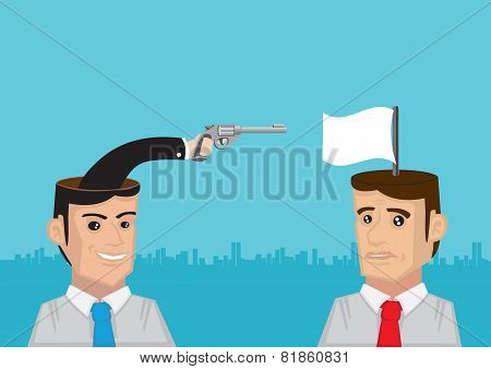 Pistol And White Flag From The Heads Conceptual Vector Illustration