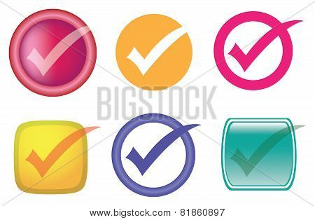 Check Or Tick Symbol Vector Icon Set