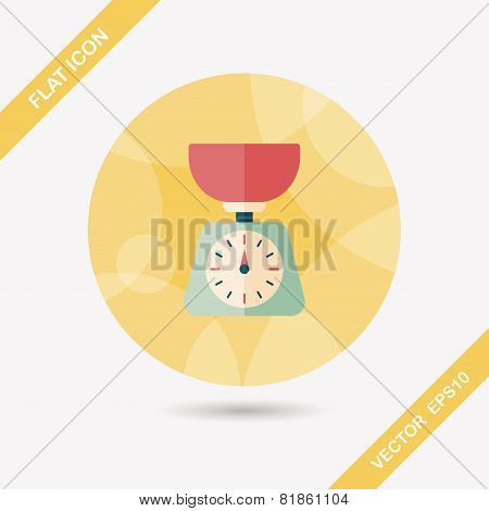 Kitchenware Weight Scale Flat Icon With Long Shadow