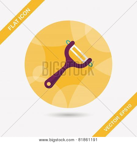 Kitchenware Peeler Flat Icon With Long Shadow