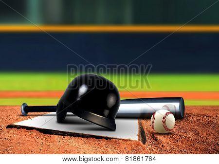 Baseball Equipment On Base