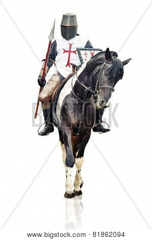 Medieval Knight With The Lance Riding The Horse.
