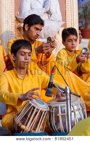 Young Sadhu Playing Tabla